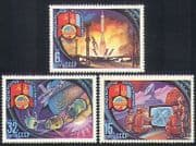 Russia 1981 Space  /  Rockets  /  Satellite Dish  /  TV  /  Space Station 3v set (b4666)