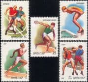 Russia 1981 Sports/Football/Boxing/Swimming/Athletics/Soccer/Games 5v set (b4660)