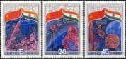 Russia 1984 Soviet-Indian Space Flight/ Rocket/ Satellite/ Radio Dish/ Weather/ Meteorology 3v set (b4495)