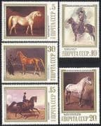 Russia 1988 Horses  /  Art  /  Animals 5v set ref:s4350