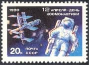 Russia 1990 Cosmonautics Day/ Space/ Astronaut/ Mir Space Station/ Rockets/ Transport 1v (n22104)
