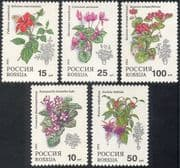 Russia 1993 Fuchsia/ Violet/ Begonia/ Cyclamen/ Hibiscus/ Pot Plants/ Flowers/ Nature 5v set (n17806)