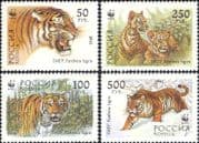 Russia 1993  WWF/ Tigers/ Wildlife/ Nature/ Wild Cats/ Conservation 4v set (b2132)