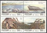 Russia 1995 Seal/ Lynx/ Nature/ Cats/ Wildlife/ Endangered Animals/ Conservation/ Environment 4v set blk (n33616)