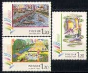 Russia 1999 Art  /  Transport  /  Buildings  /  Boats 3v set n28531