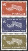 Rwanda 1966 WHO  /  Health  /  Buildings  /  Architecture  /  United Nations 3v set (n36199)