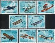 Rwanda 1978 Aviation Pioneers/ Planes/ Aircraft/ Helicopter/  Transport 8v set (n22233)
