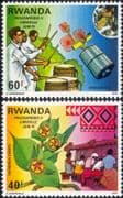 Rwanda 1979 Flowers/ Weaving/ Textiles/ Drums/ Satellite/ StampEx/ Music/ Space 2v set (n22222f)