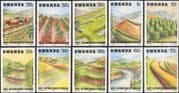 Rwanda 1983 Cattle/ Soil Erosion/ Water/ Irrigation/ Farming/ Animals/ Environment 10v set (n22222n)
