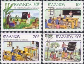 Rwanda 1990 International Literacy Year/ ILY/ Reading/ School/ Education  4v set (n22230h)
