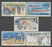 Ryukyus 1969 Boats  /  Canoes  /  Religion  /  Sport  /  Dance  /  Music 5v set (n26919)