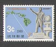 Ryukyus 1969 Statue  /  Map  /  Emigration  /  People  /  Politics 1v (n26933)