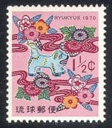 Ryukyus 1970 New Year  /  Dog  /  Animals  /  Greetings 1v (n25921)
