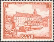 Saar 1954 Stamp Day/ Post Bus/ Coach/ Transport/ Town Hall/ Clock Tower/ Buildings/ Architecture 1v (n29836)