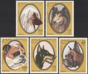 Sahara OCC 1992 Collie/ Doberman/ Bulldog/ Dogs/ Pets/ Working Animals/ Nature 5v set (s2630)