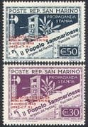 San Marino 1943 Printing Press  /  Newspaper  /  StampEx  /  Overprint 2v set o  /  p (n40948)