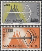 San Marino 1965 Express Postage/ Crossbow/ Shooting/ Sports 2v overprint (n43654)