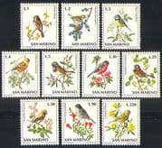 San Marino 1972 Song Birds/ Nature/ Wildlife/ Flowers/ Plants 10v set (n32539)