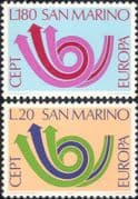 San Marino 1973 Europa/ CEPT/ Communication/ Posthorn/ Arrows/ Animation 2v (ex1056)
