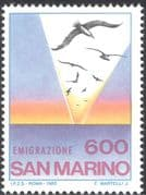 San Marino 1985 Emigration/ Seagulls/ Sunset/ Gulls/ Birds/ Nature/ People/ Animation 1v (n43498)