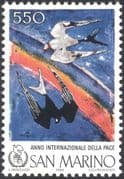 San Marino 1986 International Peace Year/ Swallows/ Birds/ Nature/ Art/ Paintings/ Contemporary/ /Rainbow 1v (n43495)