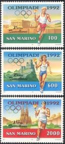 San Marino 1991 Olympic Games/ Olympics/ Torch/ Flame/ Sports/ Castle/ Cathedral/ Buildings/ Architecture 3v (n43370)