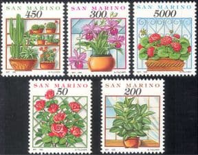 San Marino 1992 Flowers/ Cacti/ Cactus/ Cactuses/ Orchid/ Orchids/ Roses/ Plants/ Nature 5v set (s4351)