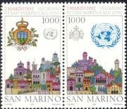 San Marino 1992 UN/ Admission to United Nations/ Buildings/ Architecture/ Coat-of-Arms/ Emblem 2v set pr (n43421)