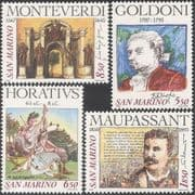 San Marino 1993 Composers/ Writers/ Drama/ Theatre/ Music/ Poetry 4v set (n43651)