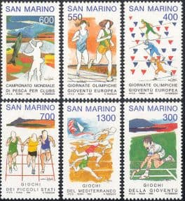 San Marino 1993 Sporting Events/ Tennis/ Skiing/ Angling/ Athletics 6v set (n43372)