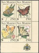 San Marino 1993 WWF/ Butterflies/ Insects/ Conservation/ Environment 4v blk (n43652)