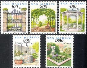 San Marino 1994 Gardens/ Flowers/ Trees/ Plants/ Nature/ Gazebo Arch/Gateway/ Pond/ Well/ Pergola/ Statue 5v set (n43356)