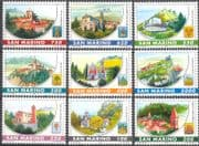 San Marino 1997 Villages/ Churches/ Clock Tower/ Bell Towers/ Belfry/ Buildings/ Architecture/ Arms 9v set (n43472)