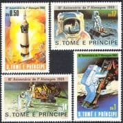 Sao Tome 1980 Apollo 11 10th Anniversary/ Moon Landing/ Rocket/ Astronauts/ Space/ Transport 4v set (b1251)