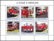 Sao Tome 2003 FIRE ENGINES/ Emergency Service Vehicles/ Rescue/ Motors/ Transport 6v sht (n10465)