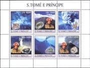Sao Tome 2003 FIRE FIGHTERS/ Volcano/ Firemen/ Rescue/ Rock/ Minerals 6v sht (n10468)