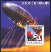 Sao Tome 2003 Hot Air Balloons  /  Aircraft  /  Aviation  /  Flight  /  Zeppelin 1v m  /  s (n35312)
