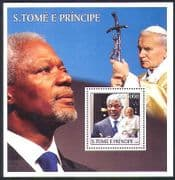 Sao Tome 2003 Pope John Paul II  /  Kofi Annan  /  Religion  /  People  /  Peace m  /  s (n36967)