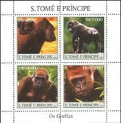 Sao Tome 2004 Gorillas/ Apes/ Nature/ Wildlife/ Conservation 4v m/s (n12632)