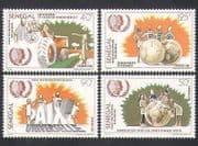 Senegal 1985 Tractor  /  Farming  /  Football  /  Communication  /  Youth  /  Peace 4v set (n35897)