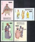 Senegal 1985 Traditional Costumes  /  Clothes  /  Textiles  /  Design 4v set (n36581)