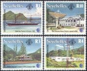 Seychelles 1993 Telecomms/ Boat/ Dish/ Radio/ Communications/ Buildings/ Transport 4v set (n18120)