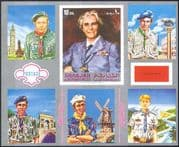 Sharjah 1971 Scouts/ Scouting/ Uniforms/ Jamboree/ Baden-Powell imperforate silver m/s (n18273)