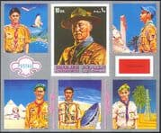 Sharjah 1971 Scouts/ Scouting/ Uniforms/ Jamboree/ Baden-Powell imperforate silver m/s (n18275)
