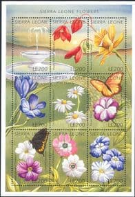 Sierra Leone 1996  Flowers/ Butterflies/ Insects/ Plants/ Nature/ Butterfly  9v m/s  (s3781t)