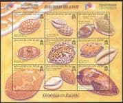 Solomons 2002 Sea Shells  /  Cowries  /  Marine  /  Nature  /  Philakorea  /  Stampex 9v sht (s659)