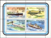 Solomons - Solomon Islands 1980  Ships/  Boats/ Planes/ Aviation/ StampEx/ Transport 4v m/s (n45169)