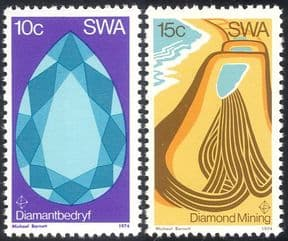 South West Africa/ SWA 1974 Diamonds/ Minerals/ Diamond Mining/ Precious Gems /Industry 2v set (n43410)