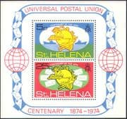 St Helena 1974 UPU Centenary/ Post/ Mail/ Statue/S hips/ Letters/ Animation/ Transport 2v m/s (n42572)