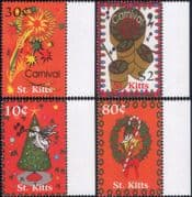 St Kitts 2001  Christmas/ Greetings/ Tree/ Angel/ Carnival/ Drums/ Fireworks  4v set (n46351)